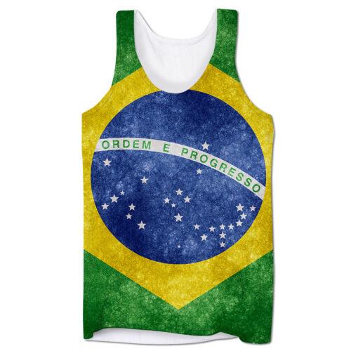 Bandera de Brasil Ibiza Vacaciones Festival Rave vacaciones de verano para hombre Chaleco de corte bajo