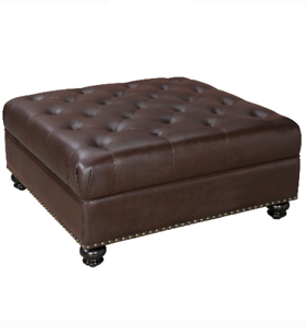 Fantastic Details About Large Square Ottoman Luxury Faux Leather Brown Tufted Foot Rest Cocktail Table Camellatalisay Diy Chair Ideas Camellatalisaycom