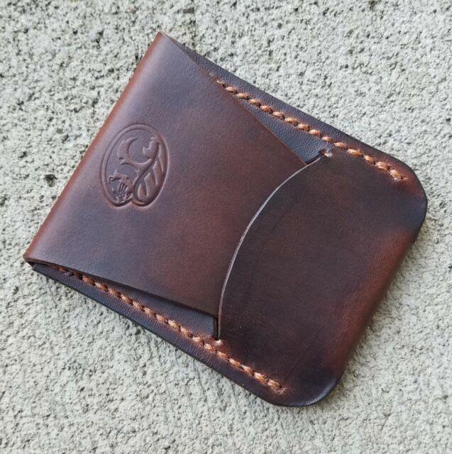 handmade brown leather minimalist wallet cardid holder  ebay