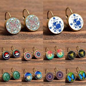 BOHO-Jewelry-Women-Vintage-Crystal-Rhinestone-Flower-Round-Ear-Stud-Hoop-Earring