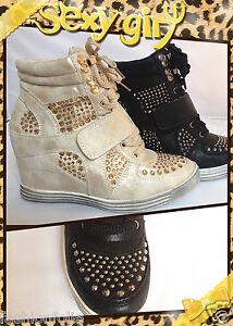 Baskets compensées montante talon chaussures femme fille lacet Doré ... 97cc7936df33