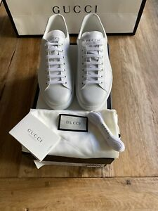 New-Gucci-Men-039-s-White-Ace-Leather-Low-Top-Sneakers-Shoes-Size-7-5-G-8-5-US