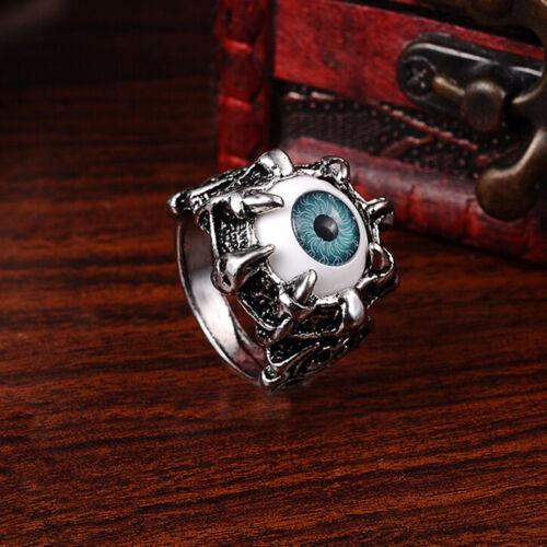 1Pcs Evil Eye Biker Men/'s Ring Stainless Steel Gothic Skull Dragon Claw Blue#JHQ