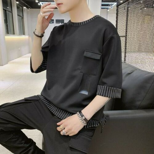 Jersey Camisetas Negro casuales manga Tops Sólido Hombres redondo Flojo Cuello Sz Media T1wx0nS