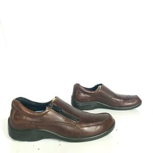 c33b82531e Details about Ecco size 38 Womens 7-7.5 Brown Leather Loafer Slip On Shoes  side zip