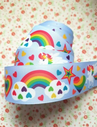 1 M X Rainbow Heart Unicorn Star Gros-grain Ribbon Craft Hair Bow gâteau Craft 38 mm