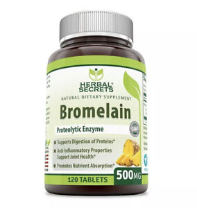 Herbal Secrets Bromelain 500 Mg 120 Tablets Non-GMO Proteolytic Enzyme 6/23