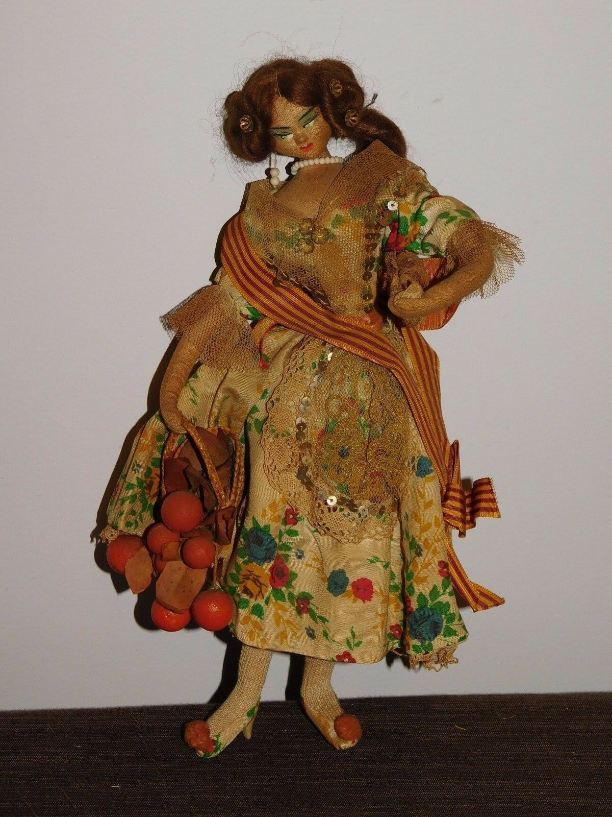 VINTAGE TOY 11  HIGH SPANISH  GIRL CARRYING FRUIT BASKET DOLL