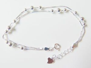 Authentic-925-Sterling-Silver-5mm-Bead-with-Box-Link-Chain-Bracelet-19-5cm-L