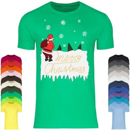 Merry Christmas Weihnachtsmann Pinkelt Ugly Christmas Herren T-Shirt