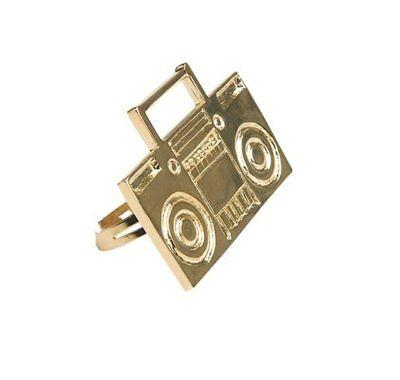 Old School Boom Box Ring Costume Accessory 80s Rapper Gangster B-Boy Retro Radio