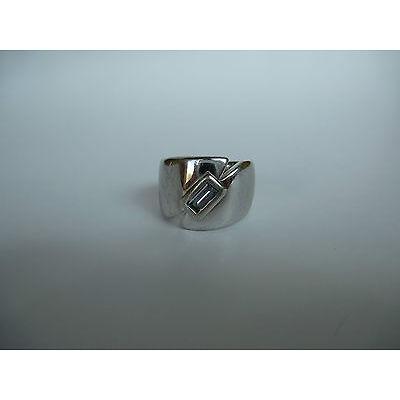 Pierre Lang PL Modeschmuck, massiver, silberfarbener Ring mit blauem Stein Gr.4