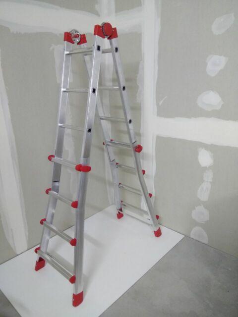 Hailo Alu-Multifunktions-Teleskopleiter MTL beidseitige Steh- und Treppenleiter Verwendbar als Anlege- und Schiebeleiter 4x4 Sprossen 7516-031