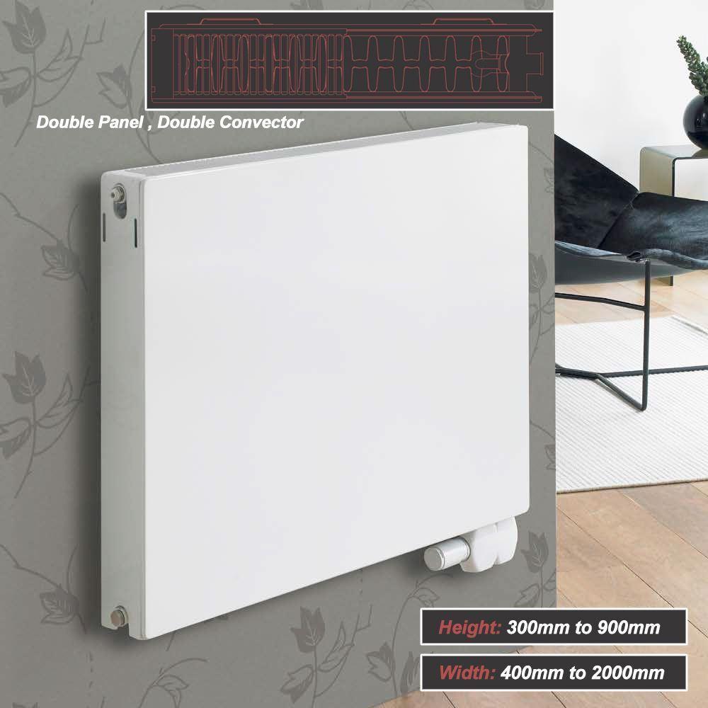 Ultraheat Flat  Planal  Weiß Horizontal Radiators Double Panel Double Convector
