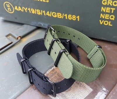 NATO Military Grade 18mm Army Watch Strap G10 High Quality BLACK or GREEN
