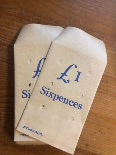 Pre-decimal UK British Bank Envelope / bag - £1 Sixpences - Mint condition RARE