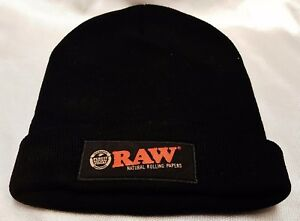 New RAW Rolling Papers Version 2 Black Beanie Toboggan Hat Free ... b9e85cf2cf7