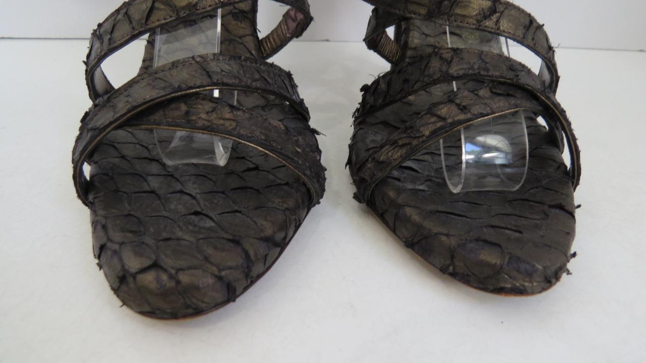Donna Karan Braun/Bronze Up  Python Lace Up Braun/Bronze Strappy Sandals/Heels/schuhes Size 7 de385b
