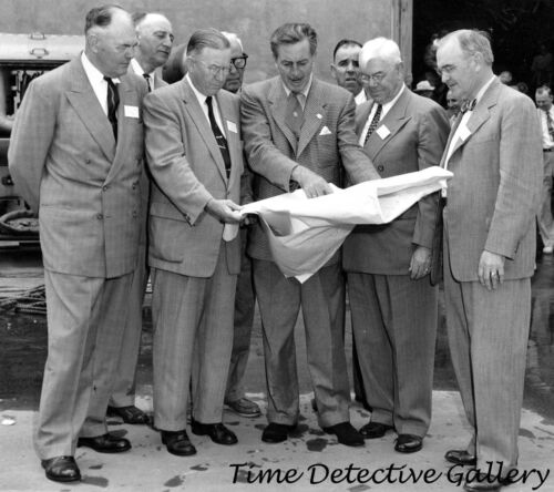 Vintage Photo Print Walt Disney with Plans for Disneyland 1954