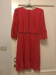 Vestiti Eleganti Taglia 42.Abito Elegante Al Ginocchio In Pizzo Macrame Rosso Corallo Motivi