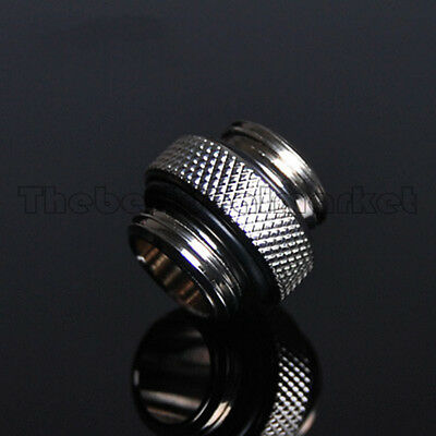 Water Cooling Nozzle Coupling Adapter Chrome Fittings G1/4 Male to Male Silver