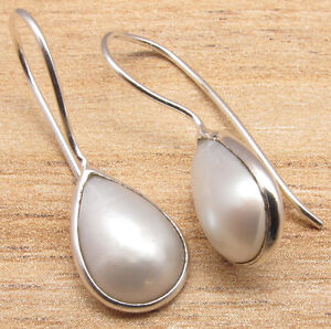925-Silver-Plated-White-PEARL-Earrings-1-1-8-034-Everyday-Wear-Jewelry