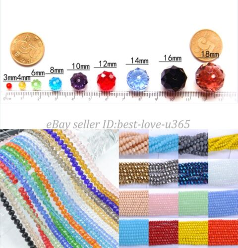 Wholesale 4//6//8//10MM Bicone Faceted Rondelle Crystal Glass Loose Spacer Beads