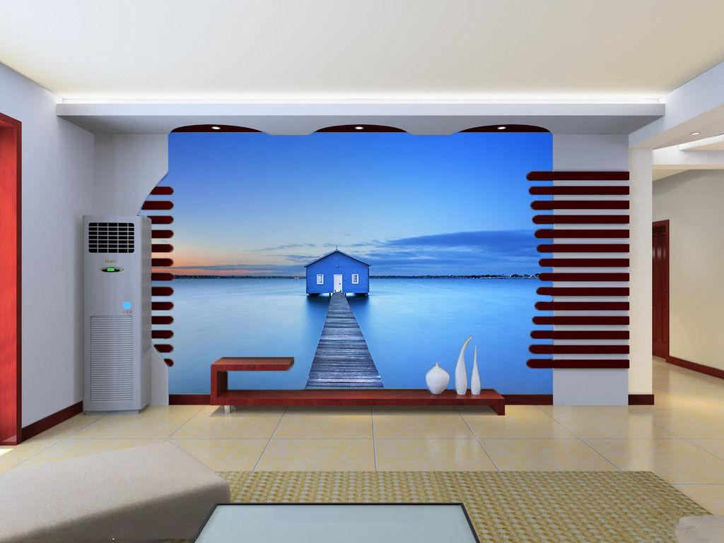 3D Cabins Mer 7 Photo Papier Peint en Autocollant Murale Plafond Chambre Art