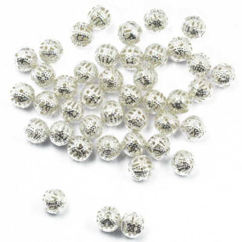 100 Metal Filigree Round Spacer Beads Charms Craft Finding Silver Plated 8mm