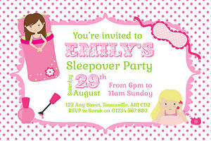 10 Personalised Invitations Girls Sleepover Birthday Party Invites