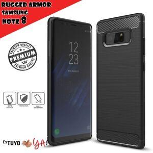 Funda-para-Samsung-Galaxy-Note-8-rugged-armor-carcasa-slim-efecto-carbono-negro