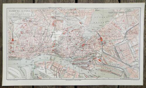 HAMBURG - ALTONA ST.Pauli Landungsbrücken Stadtplan 1908  mit Straßenverzeichnis