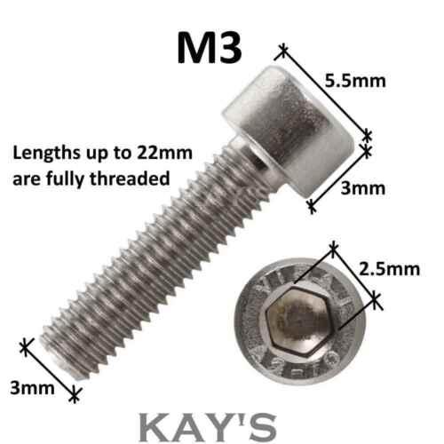M3 3mmØ SOCKET CAP SCREWS HEX ALLEN KEY BOLTS A4 MARINE GRADE STAINLESS STEEL