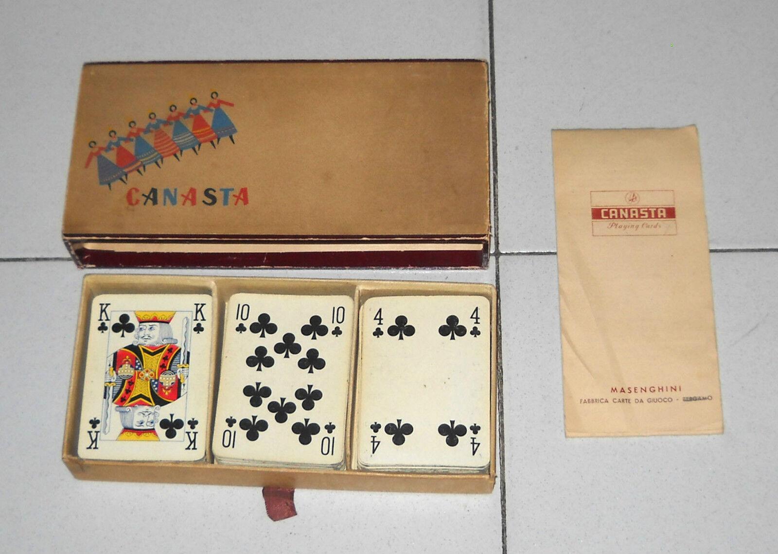 CANASTA Playing Cards MASENGHINI Bergamo 3 mazzi da 54 carte