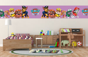 NEW Paw Patrol Pink STICKY BACK Border Self Adhesive Kids Boys ...