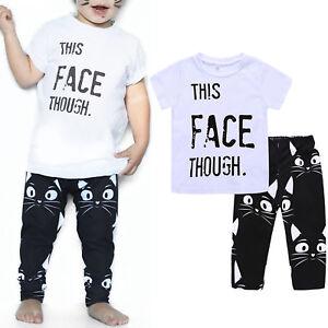 7453b6cf6c31 Kids Baby Boys Clothes Summer T-shirt Tops Cotton Long Pants Casual ...