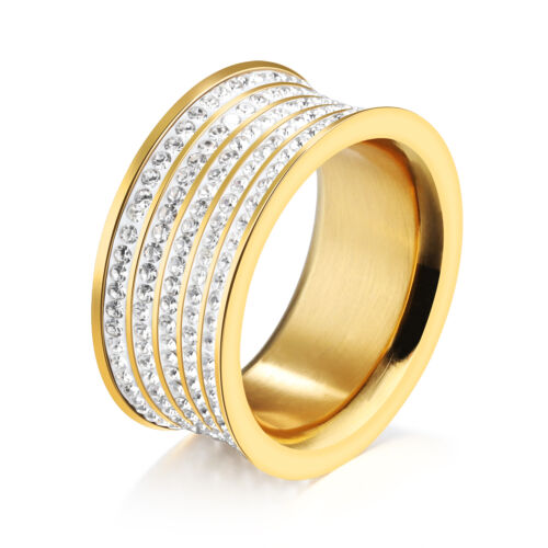 Verlobungsring Kristall Strass Band Ring Silber Gold Edelstahl Damenring J520