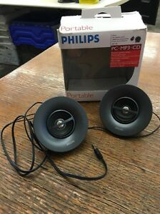 New Philips Portable Mini Speaker System Sbp1100 For Pc Ipod Mp3 Player Ebay