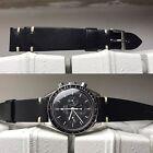 20 mm Black Leather cream stitches Strap band bracelet for vintage speedmaster