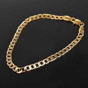 18K-Gold-Filled-Men-039-s-Bracelet-Chain-plated-Birthday-Gift-Bag-FREE