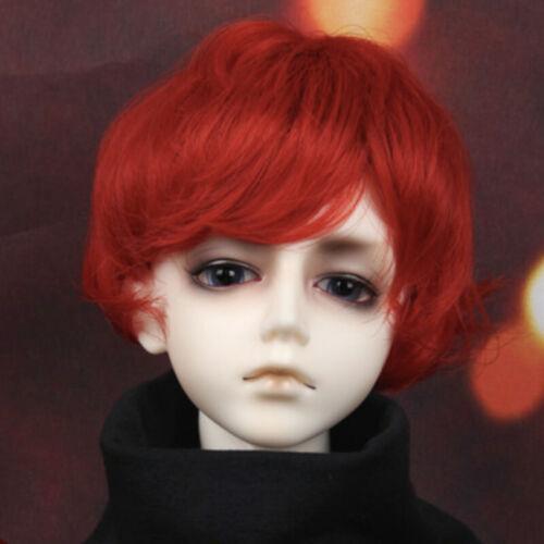 1//6 BJD Wig Hair Curly Short Wig Fire Red for BJD Boy Doll MID AOD DOD DZ Prince