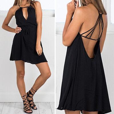 New Women Backless Casual Beach Summer Sundress Sleeveless Short boho Mini Dress