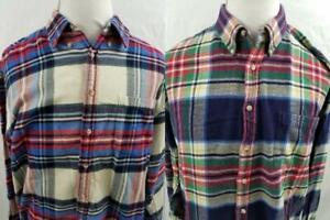 Lot-of-2-Evergreen-Sportsman-Full-Fit-Shirtmakers-XLL-XL-Flannel-Shirts-Button