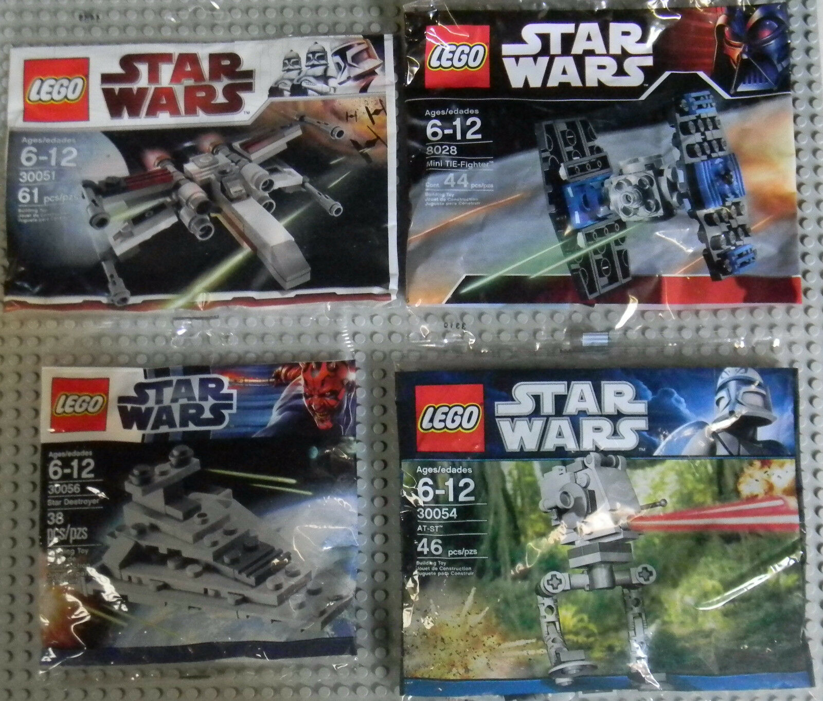 Lego Star Wars Minis 30051 30056 8028 30054 X-Wing Tie Fighter Destroyer AT-ST