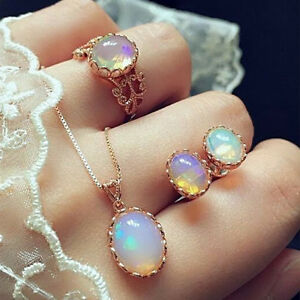 Fashion-Elegance-Women-Rose-Gold-Crystal-Necklace-Ring-Earring-Jewelry-Gift-Sets