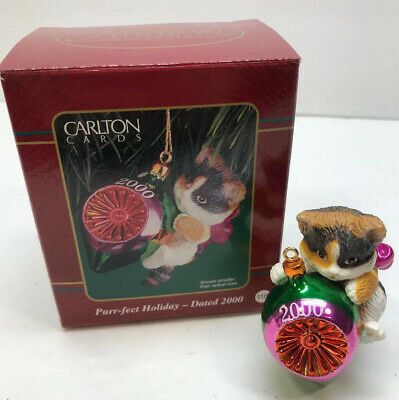 Carlton Cards Purr-fect Holiday Cat Ornament Dated 2000 | eBay