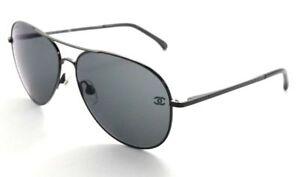 5d0e2b0317829 Chanel 4189TQ 469 C0 Negro Mate Gris Oscuro Aviador Gafas De Sol   eBay