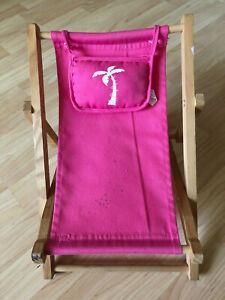 Prime Details About Build A Bear Workshop Wooden Beach Sling Folding Lounge Deck Chair Pink Palm Machost Co Dining Chair Design Ideas Machostcouk