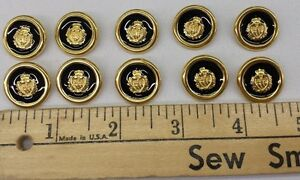Gold-Metal-Buttons-with-Crest-and-Colored-Inlay-7-8-034-Set-of-12