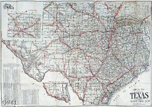 1910 Census ~ Very Early Texas Road Map~Gallup~18\
